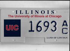 "ILLINOIS license plate ""1693 AC"" ***MINT***UNIVERSITY of ILLINOIS CHICAGO***"