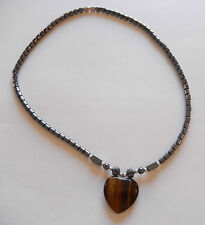 Hematite Necklace & pendant-Heart browns-silver toned beads 18 inches-