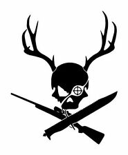 "7"" SKULL HEAD DEER KNIFE RIFLE HUNTING VINYL DECAL ANTLERS"