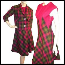 Vtg 50s PLAID Pink GREEN Geometric Jacket DRESS Suit S
