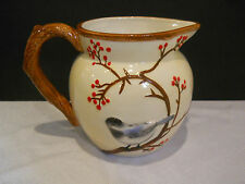 """Harry & and David Decorative Pitcher Cream Color Branches Red Berries Bird  6"""""""