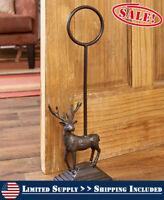 Cast Iron Heavy DEER Door Stop Stopper Handle Country Farmhouse Rustic Primitive