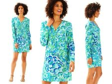 218.00 NWT Lilly Pulitzer Delphine Stretch Silk Tunic Dress Agate Lazy River S