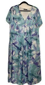 David Emanuel Shift Dress Blue Floral Short Sleeves Lined Midi V-Neck UK Size 22