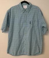 Columbia Men Short Sleeve Button Down Shirt Top Blue Plaid Cotton Size XL