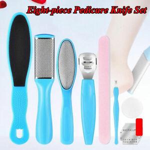 8pcs Hard Dry Skin Pedicure Feet Blades Rub Scraper Callus Remover Scrubber Kit#