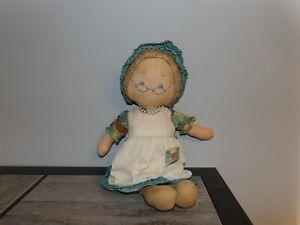 """RARE VHTF 15"""" Vintage  1977 Holly Hobbie GRANDMA Cloth Rag Doll By Knickerbocker"""