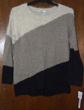DKNY Womens NWT $90 3-Knit Crewneck Sweater, M, Medium, Brown Black Multi, NEW