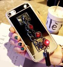 3D Girls' Mirror Bling Diamond Rhinestone Stones Tassel Phone Soft Case Cover #B