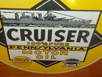 "VINTAGE 1940 ""CRUISER MOTOR OIL NAVY SHIP"" 11 3/4"" PORCELAIN METAL GASOLINE SIGN"