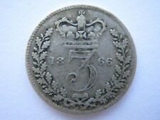 1866 Young Head silver Threepence, F/GF.