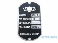 Typenschild ID-plate Isch IZ 56 targa plaque moto targhetta CCCP 350 ccm