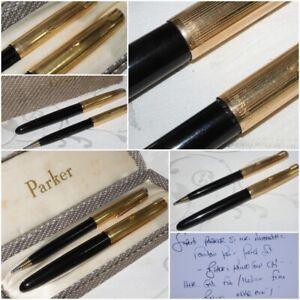 NEAR MINT PARKER 51 MK I FOUNTAIN PEN PENCIL SET BLACK 12K R GOLD CAP 14K F/M