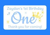 10 LARGE PERSONALISED GLOSSY BABY BOY 1ST BIRTHDAY PARTY BAG FOOD BOX STICKERS