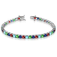 925 Sterling Silver Blue Red Green Multicolor CZ Tennis Bracelet
