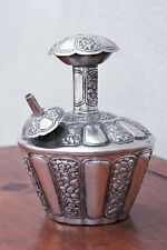 Antique 19th C. Silver Kendi , Floral Repousse, Holy Water Ritual Container 544g
