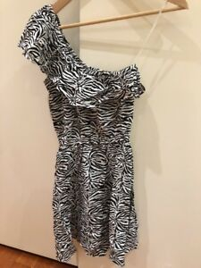 Cotton On One Shoulder Zebra Mini Dress Size S