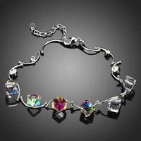 Platinum Plated Gradual Change Cube Made With SWAROVSKI Crystal Bracelet B330-23