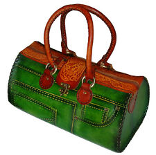 Genuine Leather Handbag/Jeans Designs,attractive Green.truly Handmade,(Large)