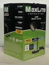 MaxLite LED Black Desk Lamp with USB Charging Port Adjustable Neck On/Off Switch