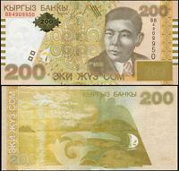 Kirgisistan 200 Som. Papier UNZ 2004 Banknote Kat# P.22