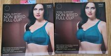 2x 40C 40 C M&S bras PINE GREEN full cup TOTAL SUPPORT supersoft strap NON WIRED