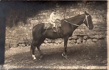 BK985 Carte Photo vintage card RPPC Enfant cheval équitation cavalier