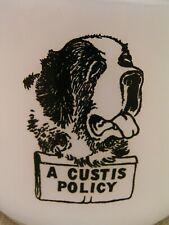 "Vintage ""A Custis Policy"" St. Bernard Dog Federal Milk Glass Mug Cup - Rare!"