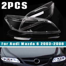 2PCS Car Headlight Headlamp Cover Lense Left & Right Front For Mazda 6 2003-08