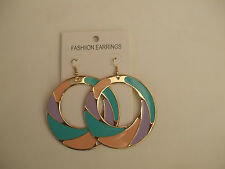 Gold Coloured Open Circle Drop Earrings Enamel Turquoise Green/Lilac/Peach New