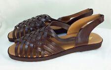 842e6ef3616 NIB Eddie Bauer Brown Leather Huarache Size 10 Sandals Slingbacks Flats  Vintage