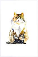 "Original Watercolor Painting 9 x 6""  Beautiful Calico Kitten Not ACEO"