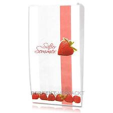 """1000 Faltenbeutel 14x5,5x28cm #422 weiß Bäckerbeutel Papiertüten """"Erdbeeren"""""""