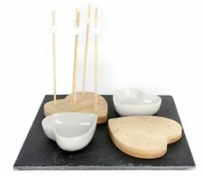 Premium Kitchen Slate And Bamboo Party Pick Set Heart