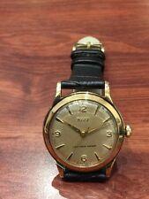 "9K Rose Gold ""Tudor Aqua Style"" Gents' Watch by TISSOT. Vintage, circa 1950's."