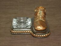 "VINTAGE TOBACCO 5 1/2"" X 6"" BRONZE BABY SHOE & CIGARETTE ASHTRAY"
