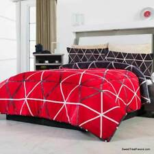 Red Black Geometric Shapes Blanket Sherpa Queen King Bedding Decoration Gift Nw