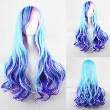 Cosplay Blau Lila Rosa Mischfarbe Lang Gelockt Volle Perücke Damen Haarteil Haar