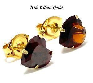 10k Yellow Gold Garnet Heart Stud Earrings 6mm Beautifully Dainty
