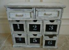 8 tiroirs armoire boîte de rangement unité apothicaire poitrine français vintage shabby chic