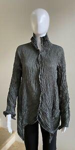 NWOT SHU MORIYAMA Dark Gray Crinkled Pleated Jacket/Blouse, Size 40/US 8