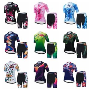 Blue Women Cycling Jersey Set Short Sleeve 5D Padded Bike Shorts Clothing Shirt