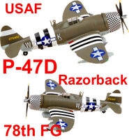 Easy Model 1/72 USAAF P-47D Razorback 78th FG WZ-K(42-75462) #36422