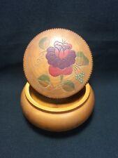 Vtg Wood Carved Handmade Bowl Trinket Stash Box Romania Wooden Folk Art Flower