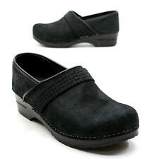 Sanita Ladies 42 (about 11.5) Black Suede Comfort Slide Stapled Casual Clogs