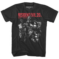 Resident Evil 20th Anniversary Men's T Shirt Zombie Monsters Gamer Capcom Black