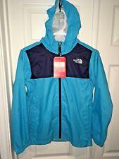 New North Face Boys M (10-12) Zipline Rain Jacket Torquoise Blue wind breaker
