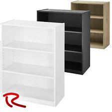 3-Shelf Wood Bookcase Wide Storage Book Display Bookshelf Black