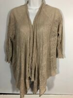 Eileen Fisher Cardigan Knit Linen Large Oatmeal Open Front