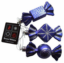 Christmas Tree Baubles Purple & Silver Sweet Candy Ornaments, Set 3 Decorations